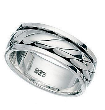 Gents Silver Twist Design Spinner Ring
