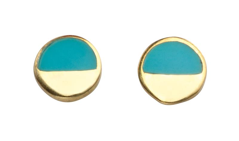 Gold And Turquoise Disc Studs