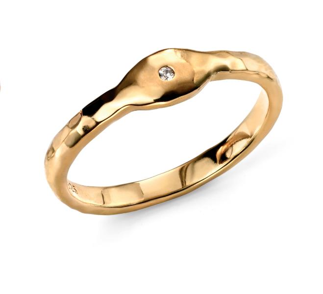 Gold Plated CZ Stacking Ring