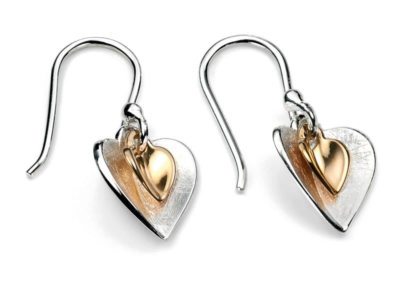 Gold Plated Double Heart Earrings