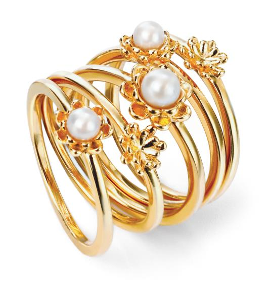 Gold Plate Set Of 5 Pearl Flower Stacking Rings