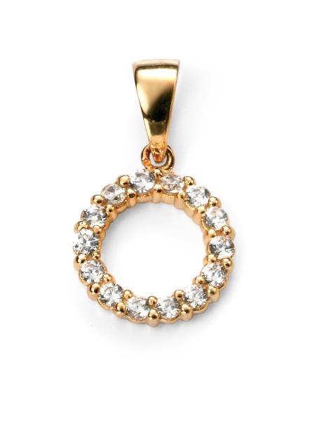Gold Plated Clear CZ Open Circle Pendant