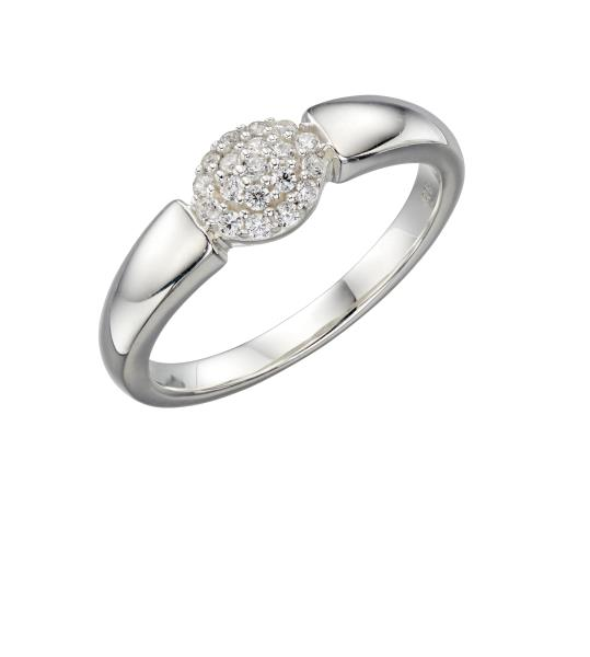 Graduated Band With Oval Pave CZ