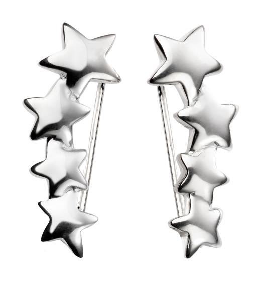 Graduated Star Crawler Earrings