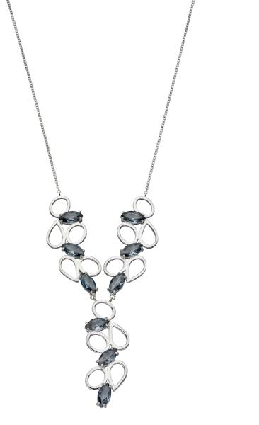 Grey Nano Crystal  Multi Shape Necklace