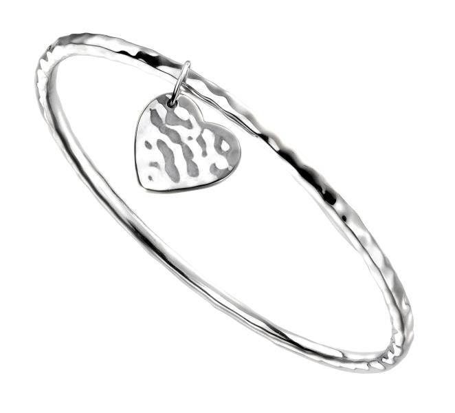 Hammered Bangle With Heart Tag