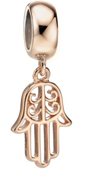 Hand Of Fatima Dangle Bead Charm Rose Gold On Silver