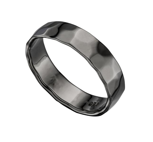 Hematite Hammered Band Unisex Ring