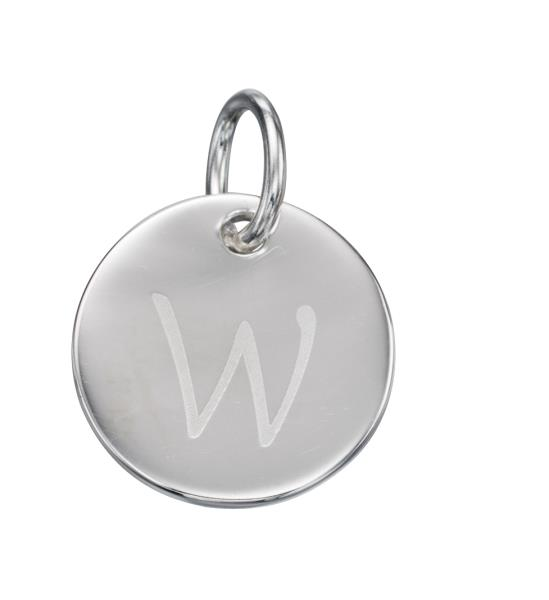 Initial Silver W Pendant