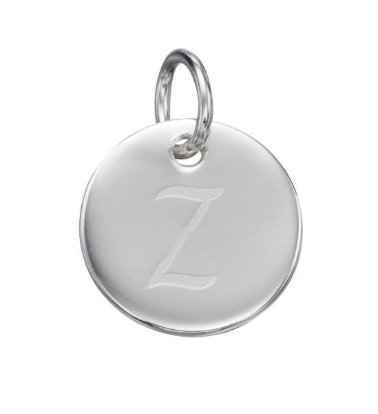 Initial Z Silver Round Pendant