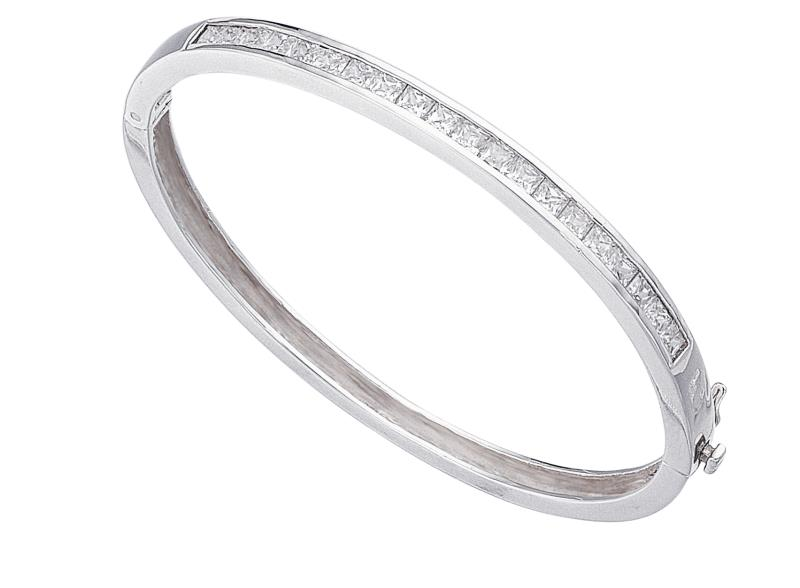 Clear CZ Square Channel Set Bangle