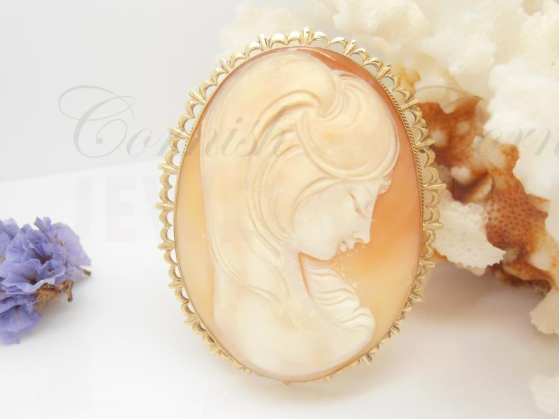 Vintage 9 carat gold shell cameo brooch pendant 940g cornish jewel large 9ct gold cameo brooch woman lady 375 aloadofball Images