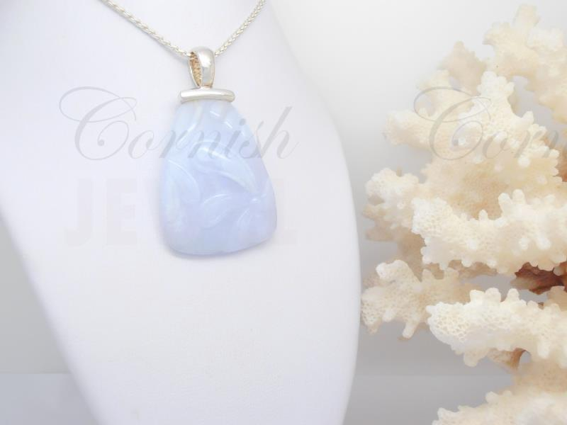 Large Silver Lilac Agate Pendant & Chain 925