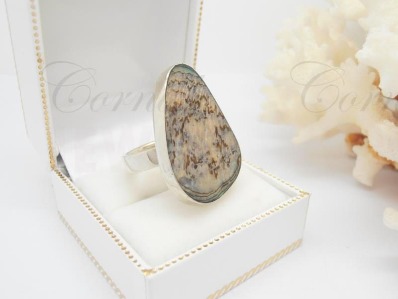Large Silver Paua Abalone Ring Size L Tribal Jewellery