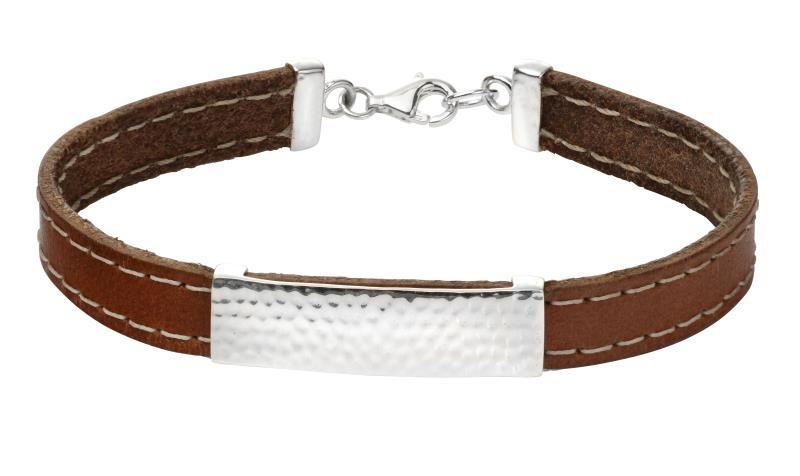 Leather Bracelet With Silver Detail ID