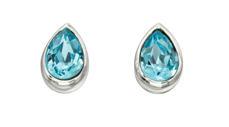 Light Blue CZ Teardrop Stud Earrings