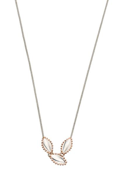 Marquise Silver And Rose Gold Plated Boho Style Necklace