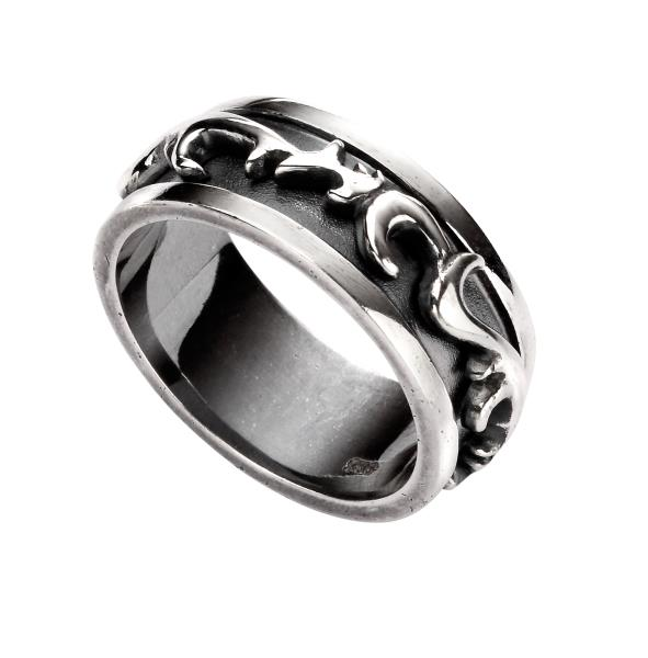 Men's Oxidised Raised Filigree Pattern Ring