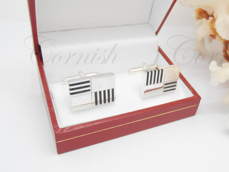 Mens Silver 925 Cufflinks Contemporary Style