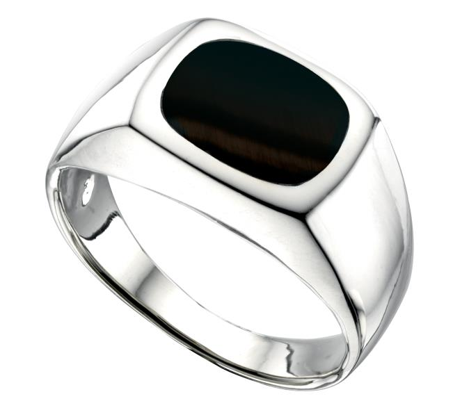 Mens Solid Silver Onyx Signet Ring