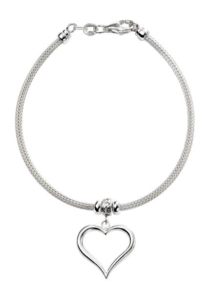 Mesh Bracelet With Heart & CZ Detail
