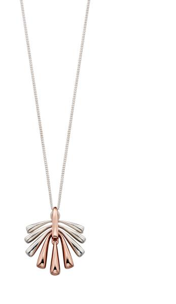 Mix Rose Plated And Silver Fan Shape Pendant