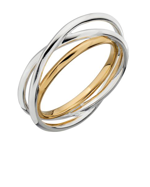 Mix Silver And Yellow Gold Plate Bar Ring