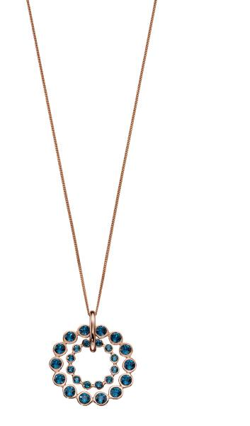 Montana Swarovski And Rose Gold Plated  Silver Double Row Pendant