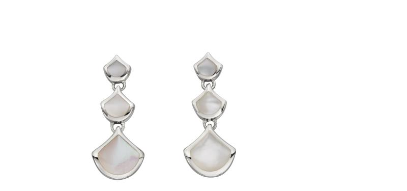 Mother Of Pearl Silver Drop Earrings