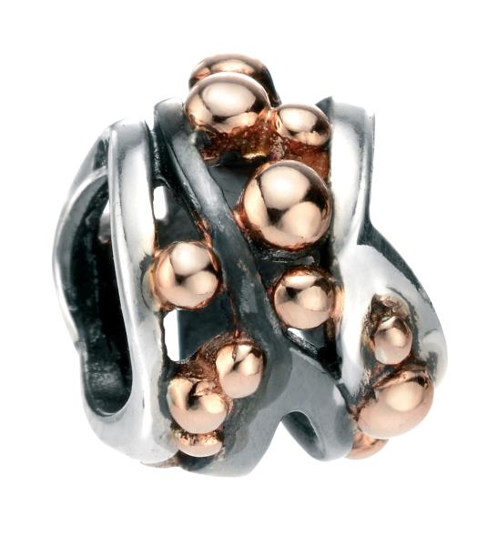 Multi Ball Detail Bead Rose Gold & Oxidised