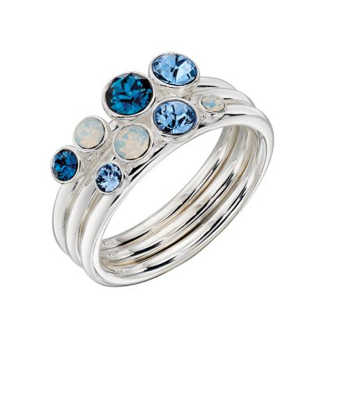 Ombre Blue And Opal SWAROVSKI Design Stacking Ring Set
