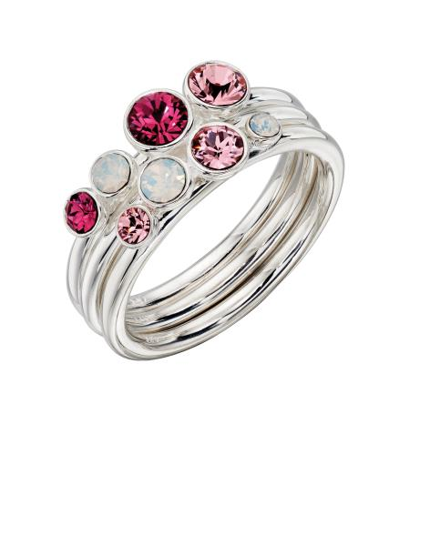 Ombre Pink And Opal SWAROVSKI Design Stacking Ring Set