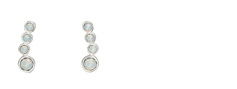 Opal Swarovski And Plain Silver Crawler Earrings
