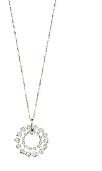 Opal Swarovski And Plain Silver Double Row Pendant