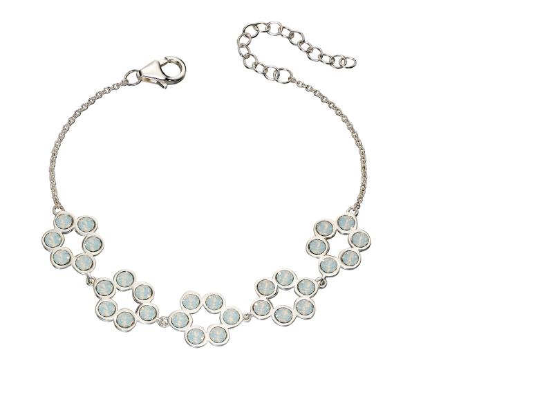 Opal Swarovski And Plain Silver Tennis Bracelet