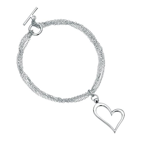 Open Heart Multi Chain T-bar Bracelet