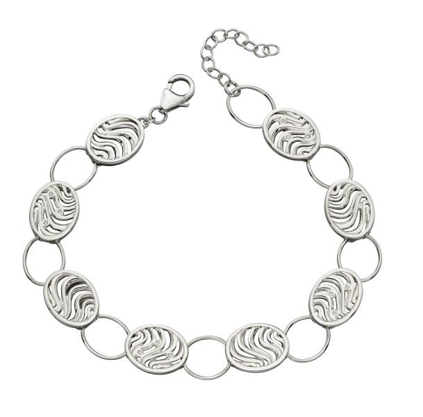 Oval Wave Cut Out CZ Bracelet