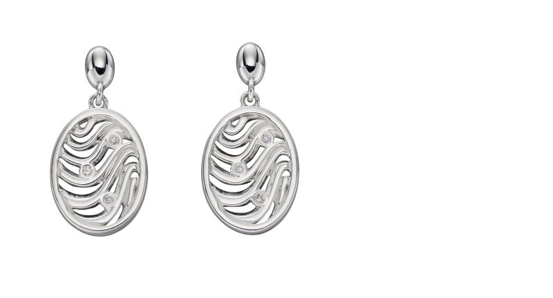 Oval Wave Cut Out CZ Earrings