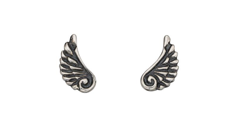 Oxidised Angel Wing Studs