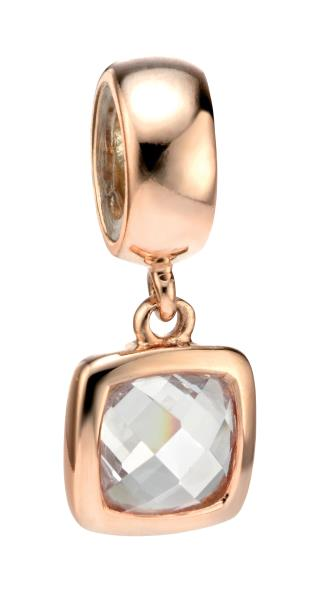 Pacer Charm Bead With White CZ Rose Gold Plated