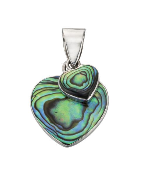 Paua Shell Double Heart Pendant
