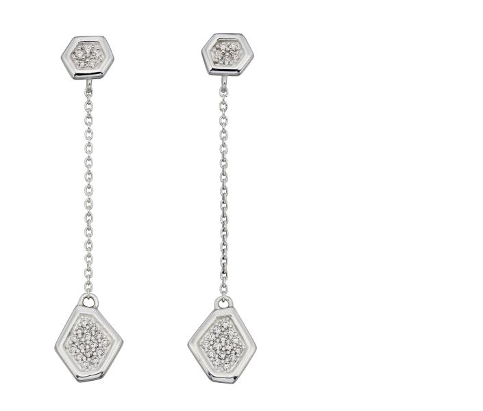 Pave CZ Wing Pattern Front Back Earrings