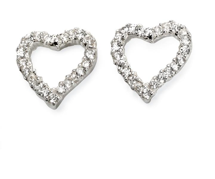 Pave Open Heart Earrings