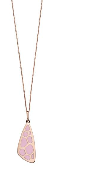 Pink Enamel CZ Wing Pattern Pendant  With Rose Gold Plate