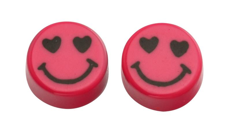 Pink Round Smiley Face Studs