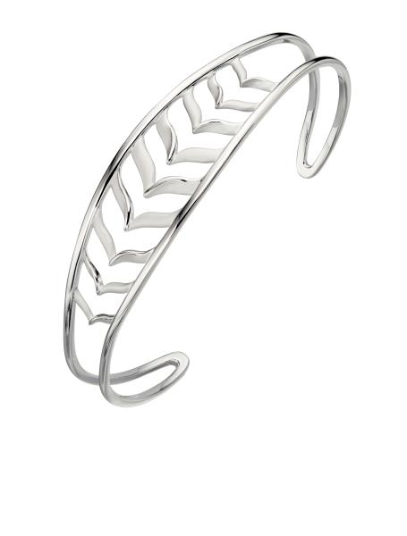 Plain Silver Fish Bone Bangle