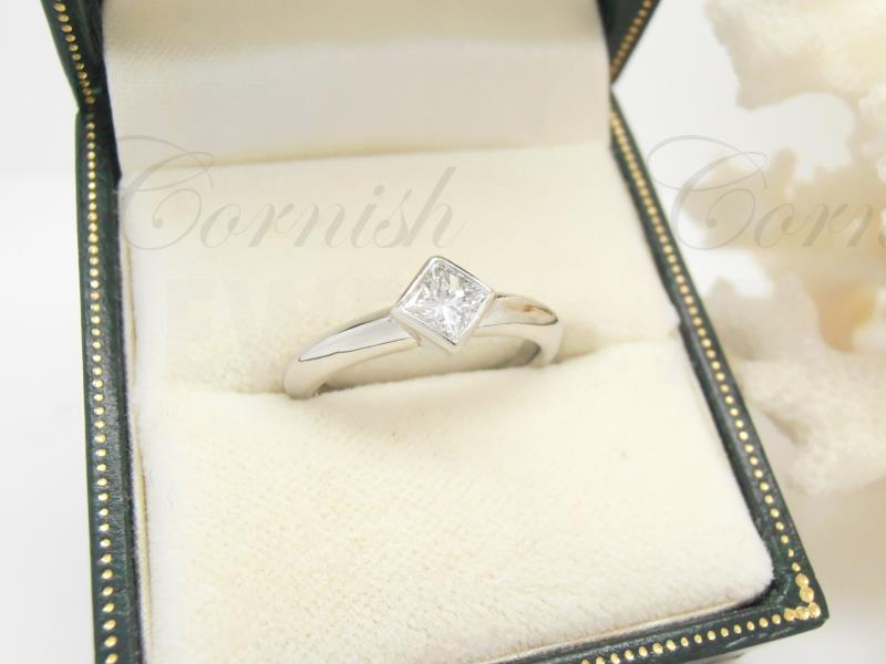 Platinum Princess Diamond Ring Bezel Set