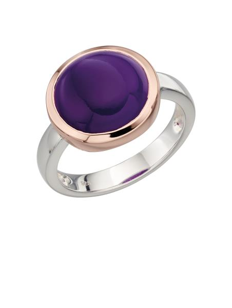Purple Agate Ring With Rose Gold Plate