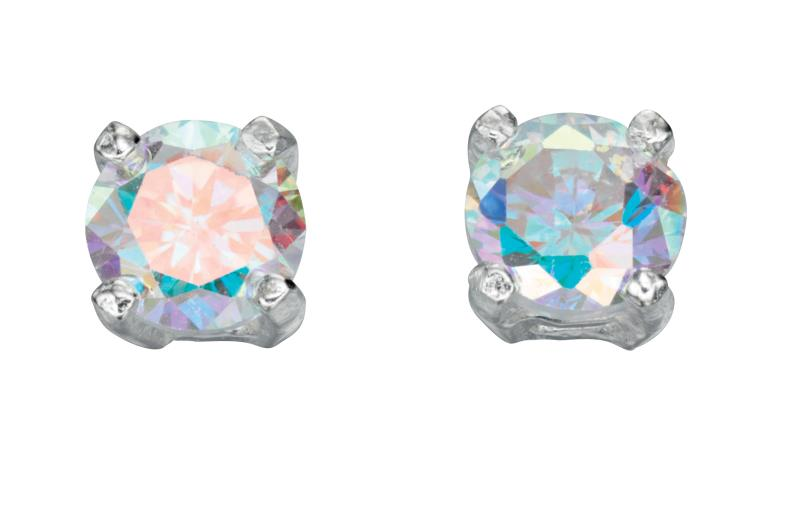 Rainbow CZ 4Mm Stud Earrings