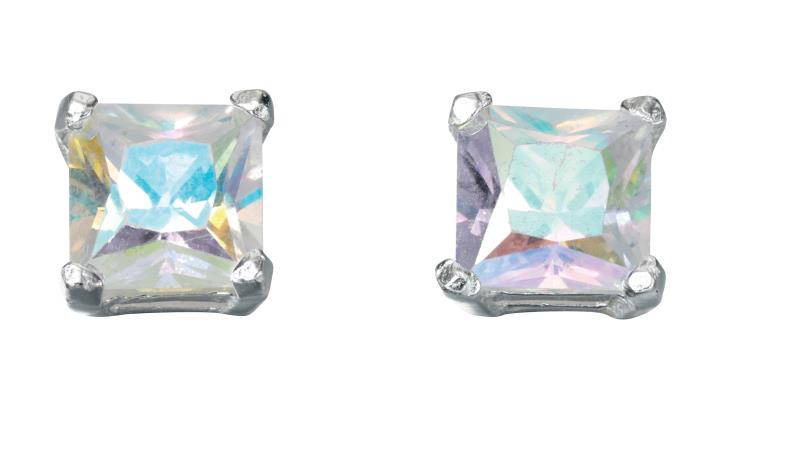 Rainbow CZ Square Stud Earrings